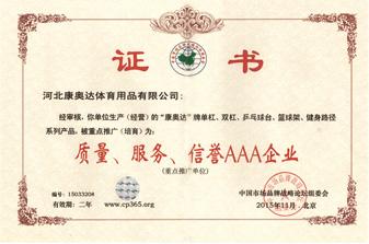 信誉AAA企业证书